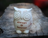 "owl home decor ""always & forever "" on ivory white"