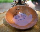bowl in tangerine orange medium size with bicycle