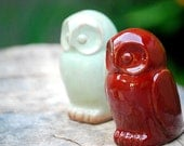 ceramic Owl  home decor in firebrick  red handmade pottery