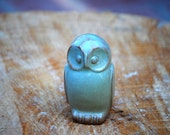 Ceramic Owl  rustic home decor in pistachio green