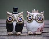 custom Owl wedding cake toppers -Handmade ceramic custom  MADE TO ORDER