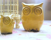 Owl home decor in   yellow spring decor owl and owlet - IN PRODUCTION