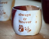"COFFEE Mug ""always & forever"" love owls  wheel thrown handelless cup in purple and rustic golden brown"