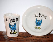 children Personalized ceramic plate and cup set with sweet little monster
