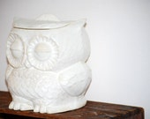 Cookie jar OWL in ivory white vintage style home decor