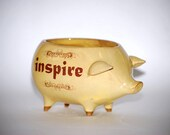 ceramic pig planter in butter yellow