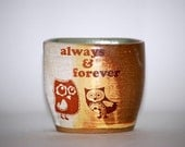 Mug  wheel thrown handelless cup with owls  in mint  and rustic golden brown spring decor