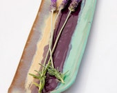 Serving platter in mint purple and gold