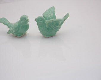 Wedding cake toppers - Rustic cake topper  - Rustic wedding  - Bird cake toppers - cake topper figures - ceramic cake toppers
