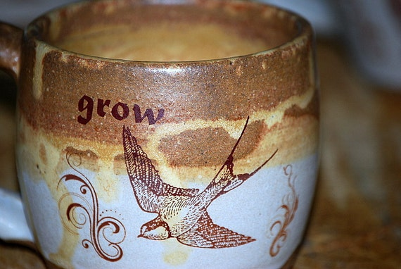 Ceramic coffee  mug handmade in golden brown GROW