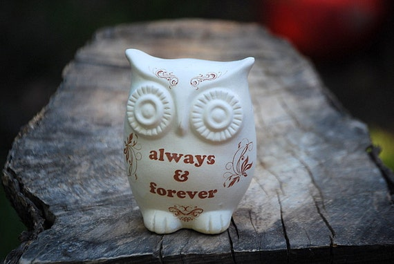 """owl home decor """"always & forever """" on ivory white"""