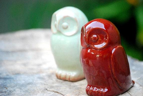 ceramic Owl  home decor in firebrick  red handmade pottery