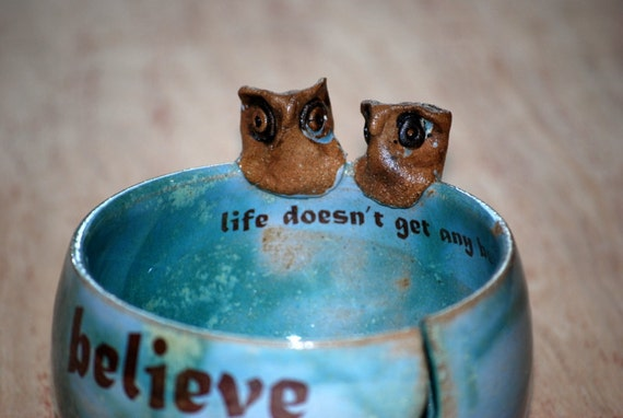 Yarn Bowl, knitting bowl, large, robins egg, owls ,believe  handmade ceramic pottery
