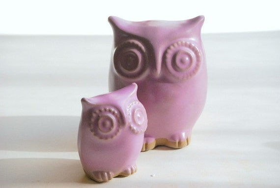 owls  in a soft satin orchid  lavender