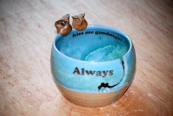 Yarn Bowl, knitting bowl, large, robins egg, owls  handmade ceramic pottery