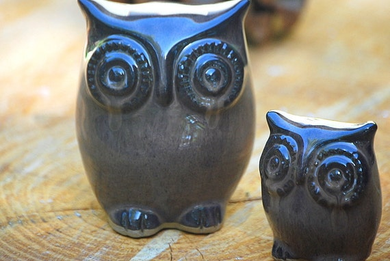 owl And owlet in coffee liqueur handmade ceramic