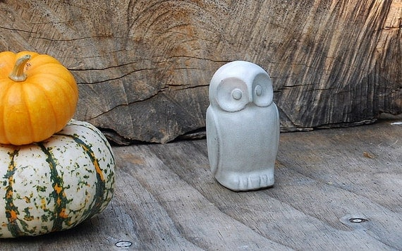 Ceramic  Owl  rustic home decor in rustic vanilla white  handmade pottery