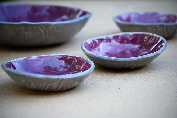 ceramic serving Bowl set of four in Purple and gray serving set