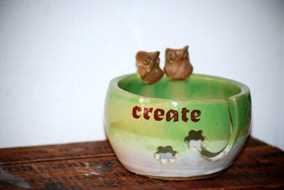 Yarn Bowl, knitting bowl, large,spring green, owls  handmade ceramic pottery create