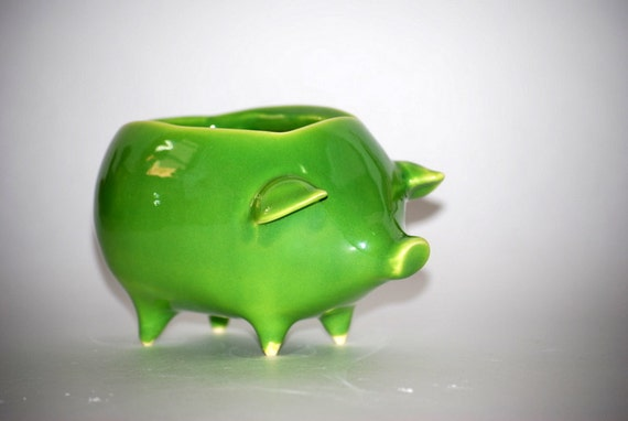 ceramic pig planter sponge holder  in spring green - made to order
