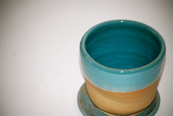 planter with dish robins egg blue
