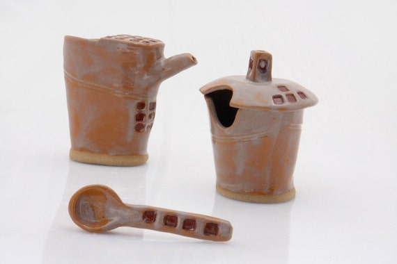 Cream and sugar set , handmade OOAK unique in burnt sienna and brick red