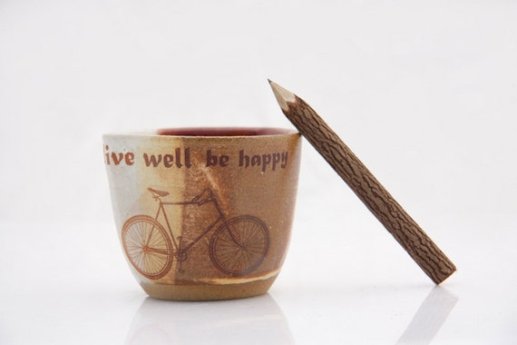 rustic mug in Autumn golden brown and purple bicycle live well
