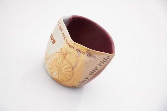 bicycle  Mug  handleless cup in purple and rustic golden brown BELIEVE