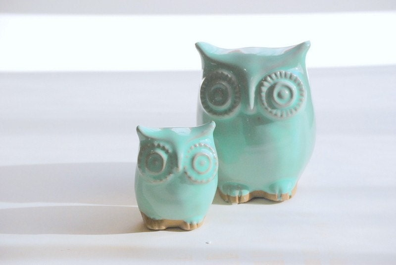 Ceramic Owl Home Decor Modern Mint Julip By Claylicious On