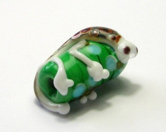 Lampwork Glass Critter Focal Bead - Handmade Lampwork Beads - Glass Critter Bead - Green/White/Brown