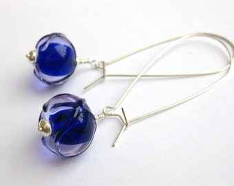 Ink, Artisan Glass Earrings