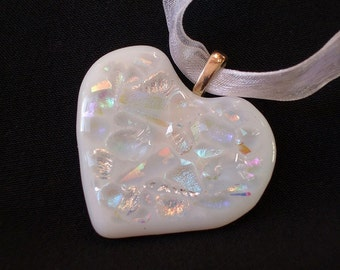 White'bejewelled' fused glass heart pendant
