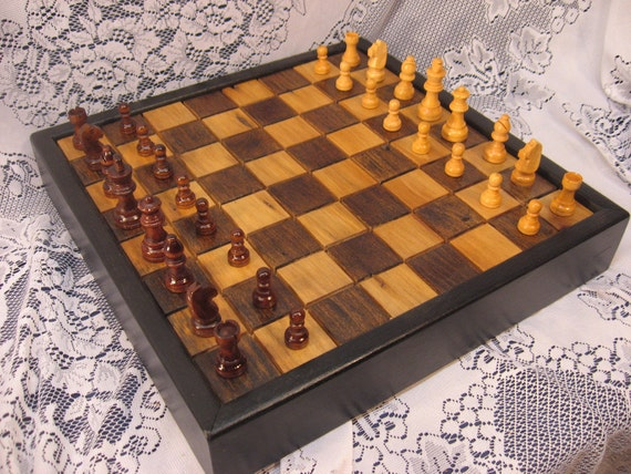 1830's Barn Beam Chess Set in Wormy Chestnut