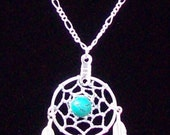Dream catcher necklace with Turquoise & three feathers