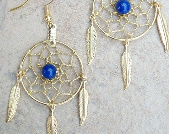 "Dream catcher earrings gold with Feathers & Lapis- 1"" dreamwebs, dreamcatcher earrings, lapis earrings, dangle earrings with Lapis"