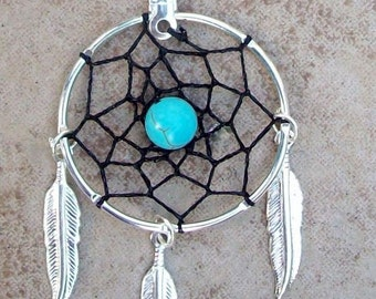DREAM CATCHER necklace in Silver, Black, Turquoise with three feathers, black dreamcatcher necklace with Turquoise, black dream catc