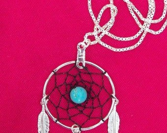 DREAM CATCHER Black & Blue Necklace Silver with Black dream web ,Turquoise and sterling silver