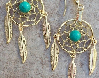 Gold earrings with Turquoise and three feathers