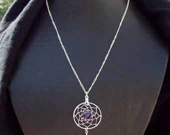 DREAM IN PURPLE  Silver Dreamcatcher with amethyst, dreamcatcher necklace, amethyst necklace, silver amethyst dream catcher necklace