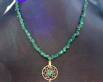 DREAM in GREEN  Malachite necklace with Dream catcher pendant