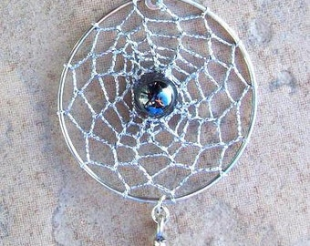 COSMIC WEB- Dream catcher Sterling silver with Hematite, silver dreamcatcher necklace, dream catcher necklace, dream catcher