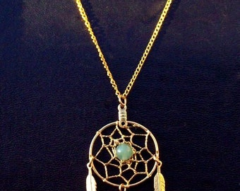 DREAMIN in GOLD and GREEN  Aventurine Dream catcher necklace