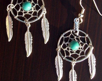 BLUE SKY ll - Dream catcher earrings Silver with Turquoise