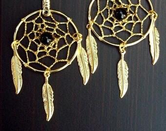 Dreamcatcher earrings, gold w/ black onyx ECLIPSE II Dream catcher earrings gold with black onyx