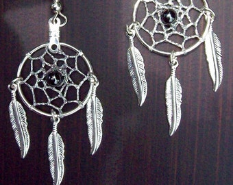 DREAM CATCHER Earrings with hematite, smaller version