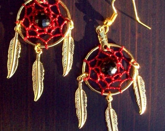 Red Dream catcher earrings in gold with black onyx POWER STONE
