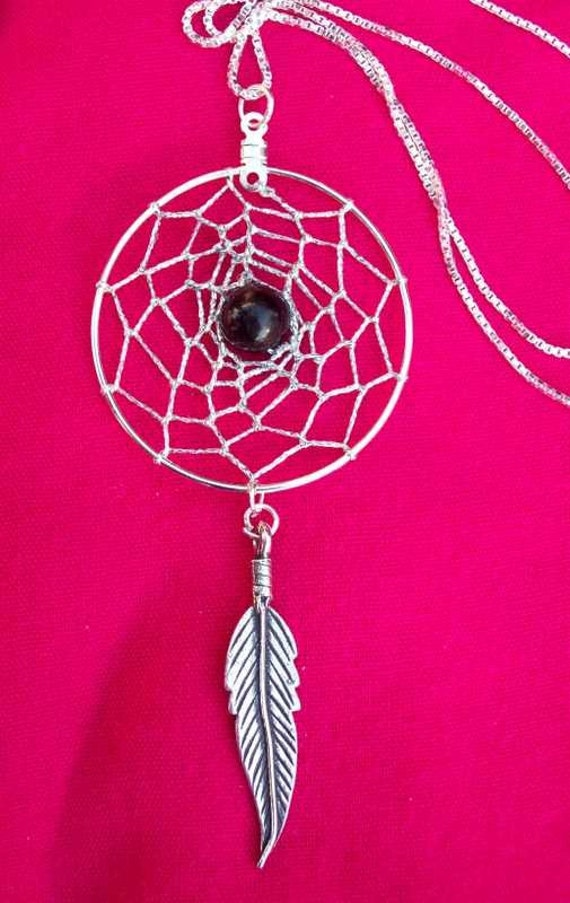 MYSTIC Dream catcher necklace with Black onyx and sterling silver