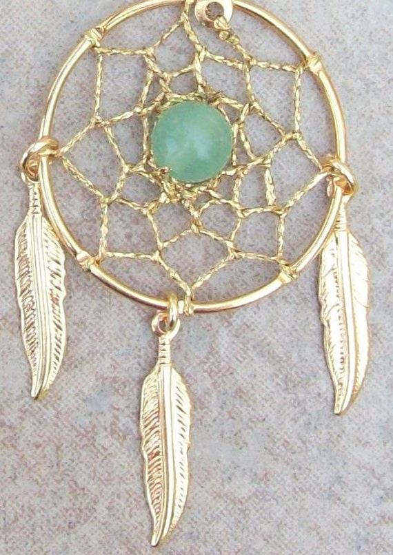 DREAMIN in GOLD and GREEN  Adventurine  Large Dream catcher earrings