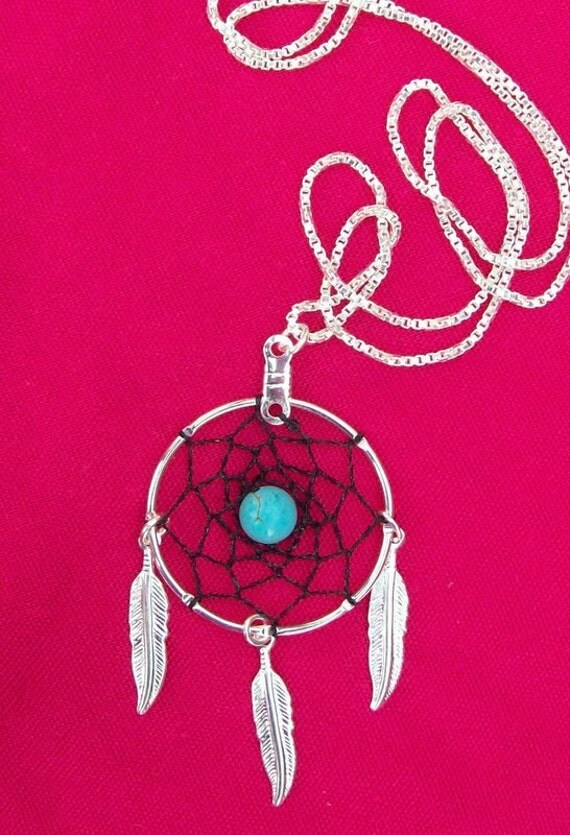 DREAM CATCHER Necklace Silver with Black dream web ,Turquoise and sterling silver