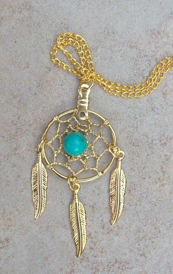 Gold Feather Necklace w/ Turquoise & Dream catcher